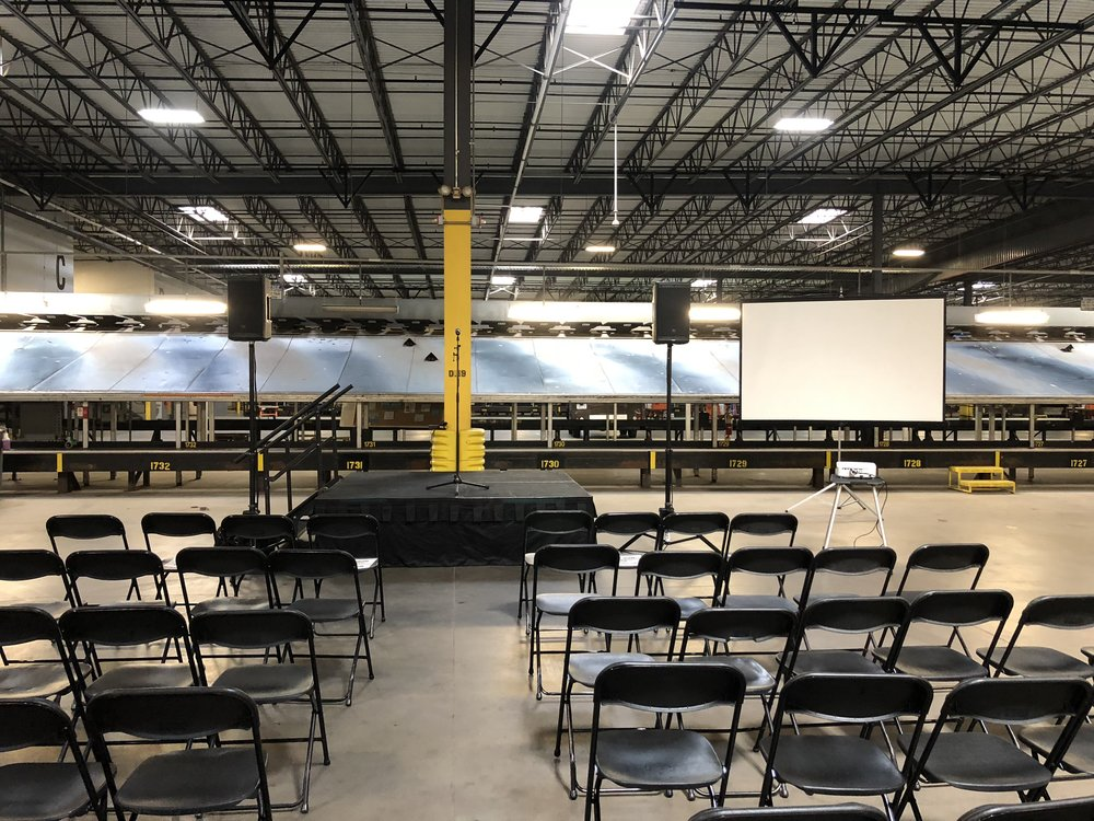 Picture of AV for You set up for sound, stage and video for a meeting at UPS - Maple Grove