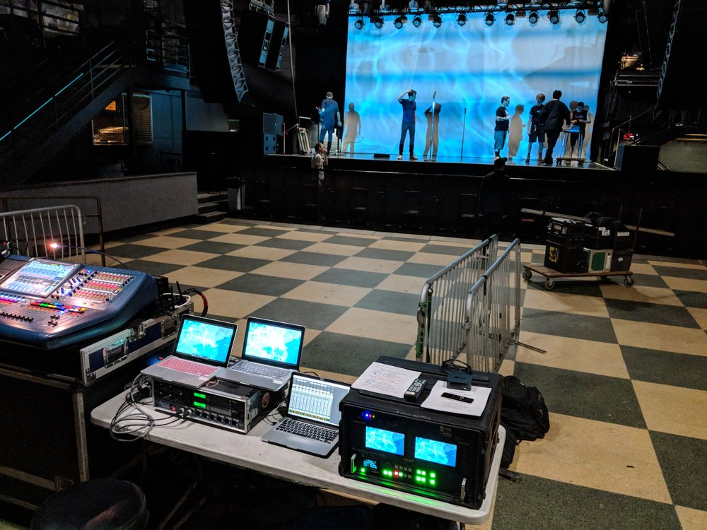 Picture of AV for You tech table for concert at First Avenue