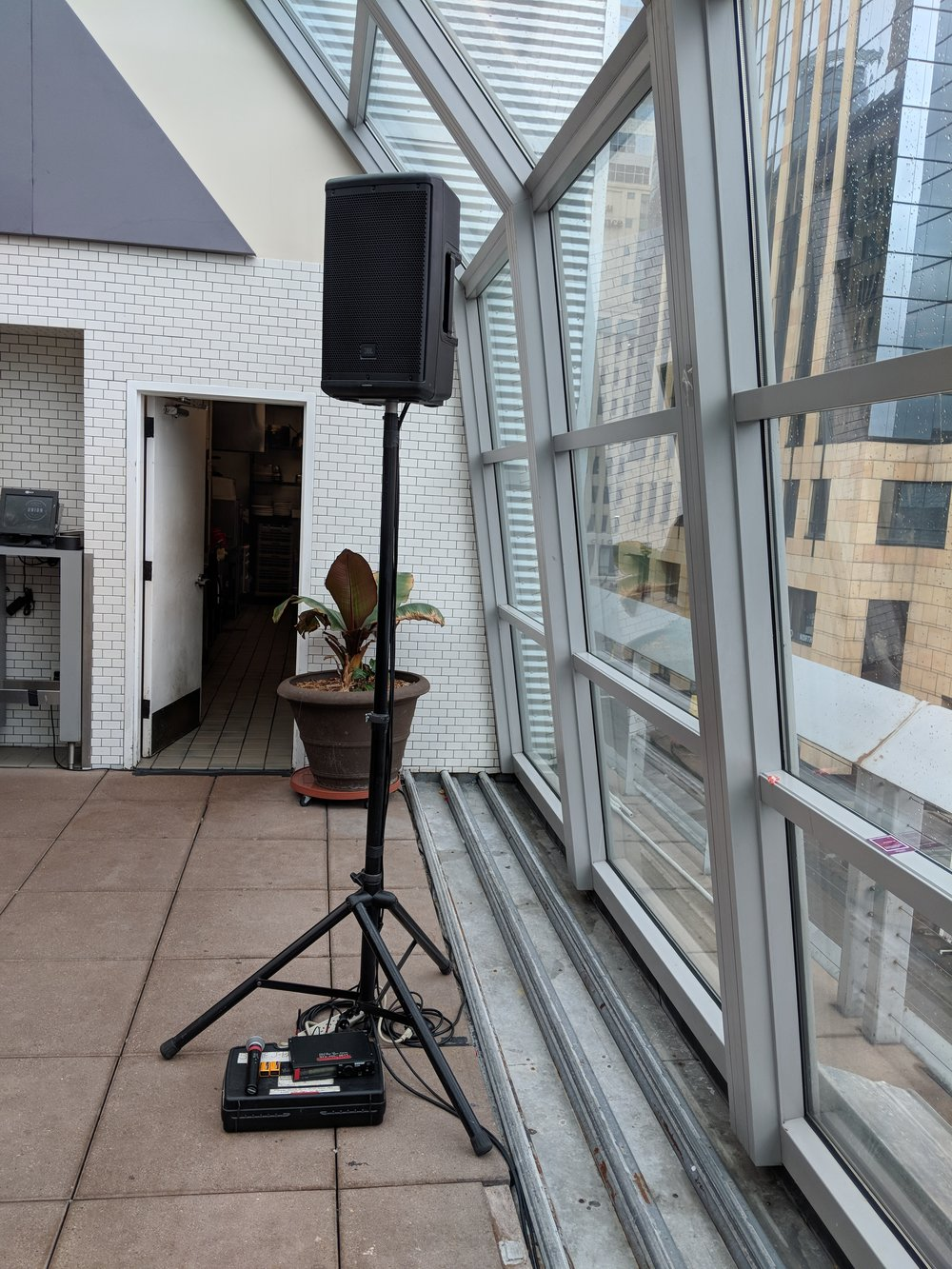 Picture of AV for You speaker and microphone rental at Union Rooftop