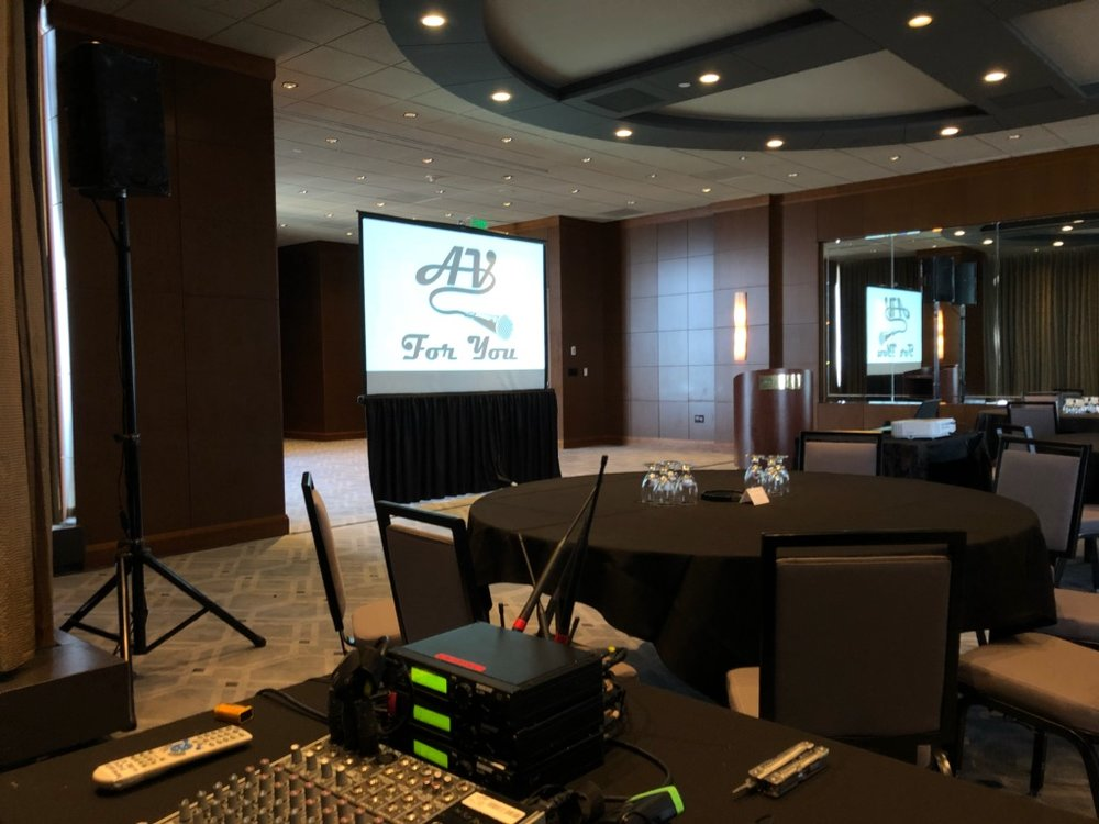 Picture of AV for You audio and video set up at Windows on Minnesota in the IDS Tower