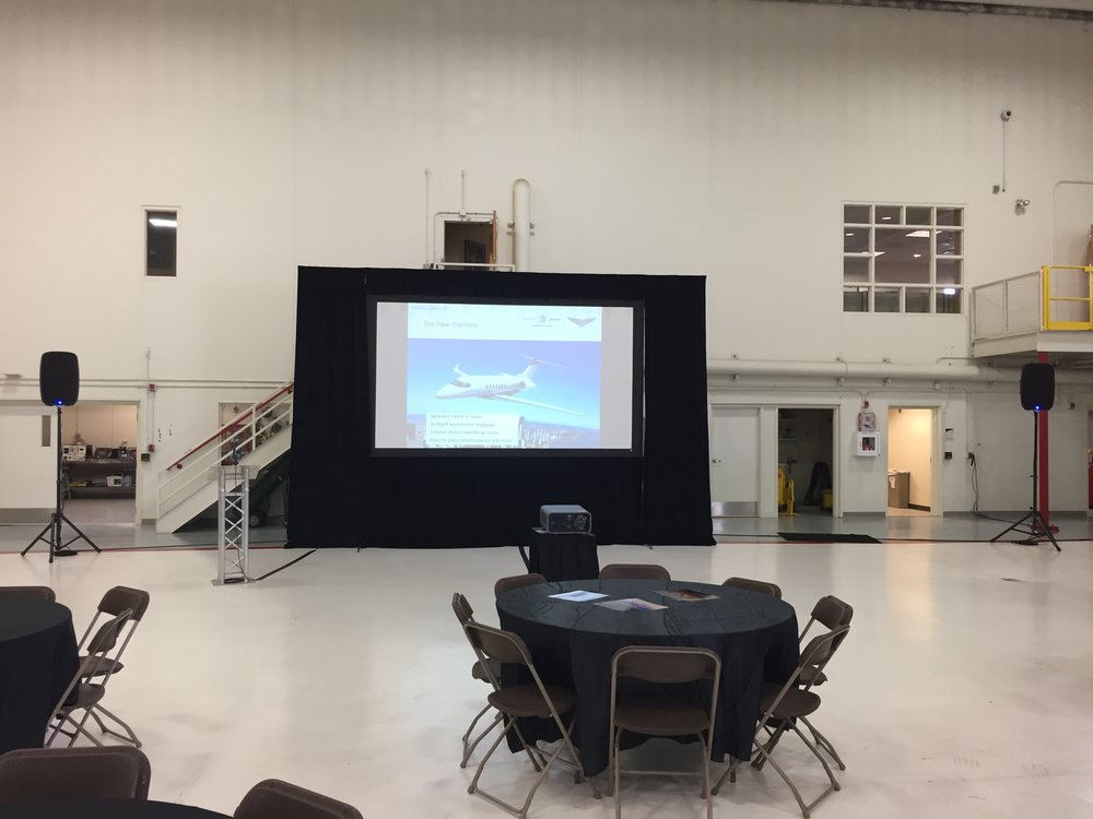 Picture of AV for You audio and video rental in an Aircraft Hangar