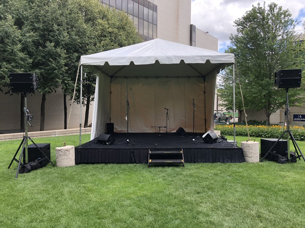 Picture of AV for You sound system rental equipment for Bike Night at the Minneapolis Institute of Art