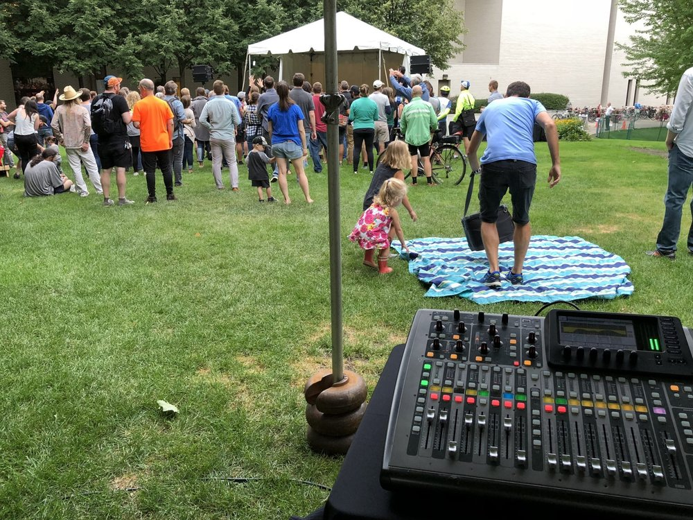 Picture of AV for You audio rental equipment for Bike Night at the Minneapolis Institute of Art