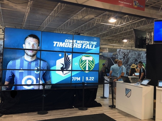 Picture of AV for You video wall set up at the MN State Fair