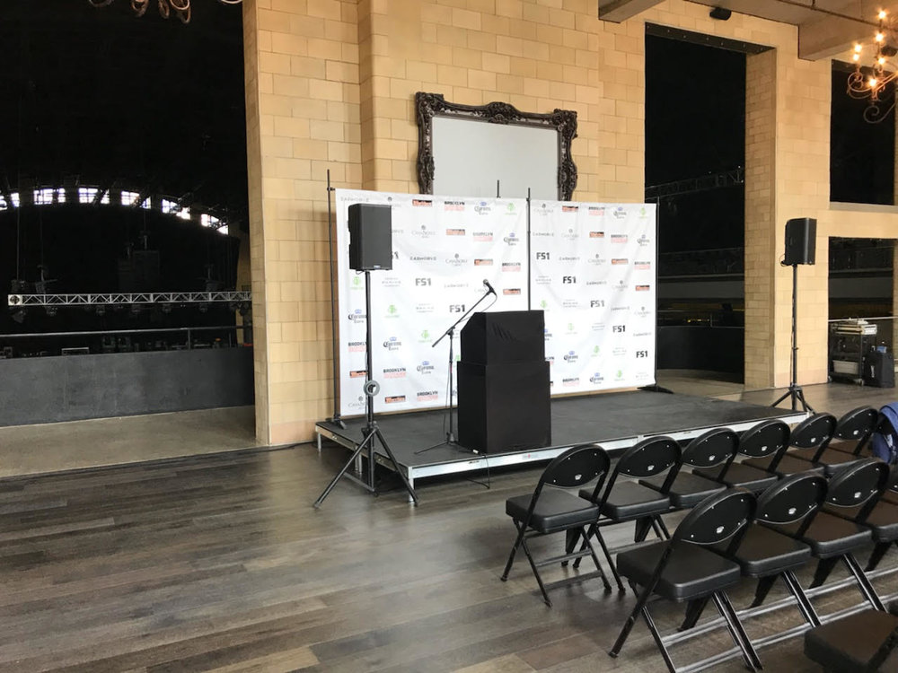 Picture of AV for You audio equipment rental at an Armory press conference in Minneapolis
