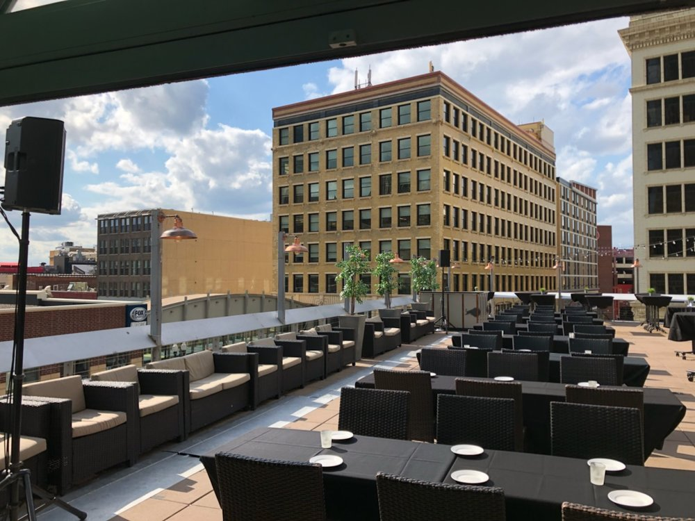 Picture of AV for You rental equipment at the Union Rooftop in Downtown Minneapolis