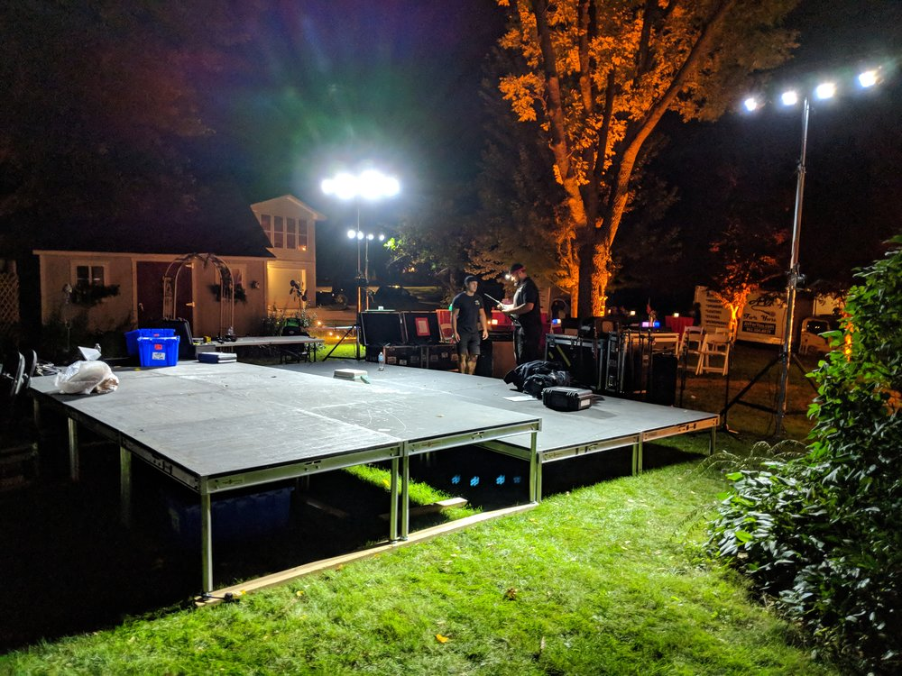 Picture of AV for You rental equipment for an outdoor party in Bloomington