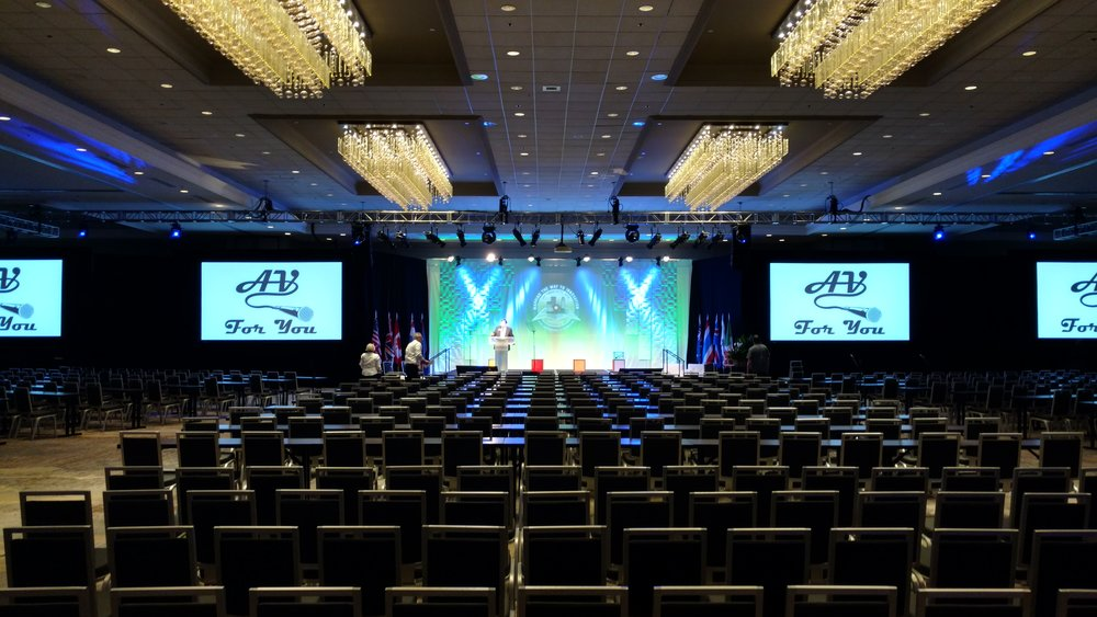 Picture of AV for You rental equipment at the Hilton Ballroom in Downtown Minneapolis