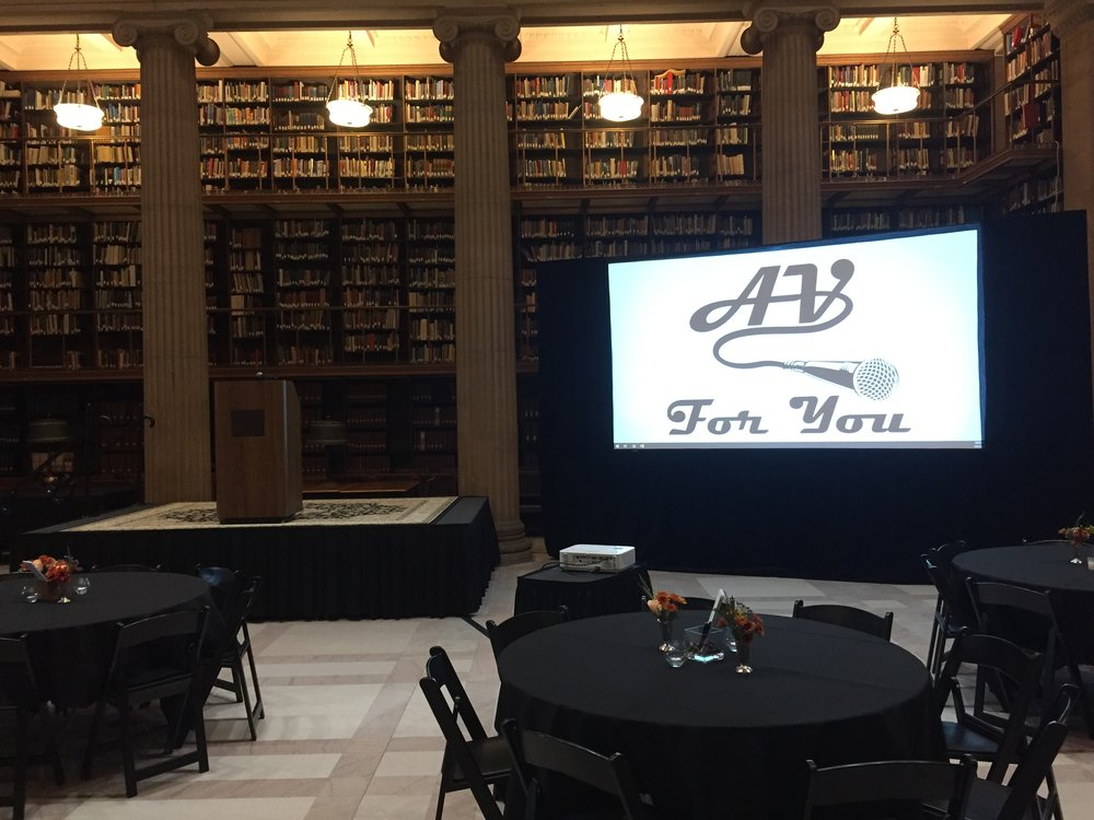 Picture of AV for You projector and screen rental at the James J Hill Center in St Paul