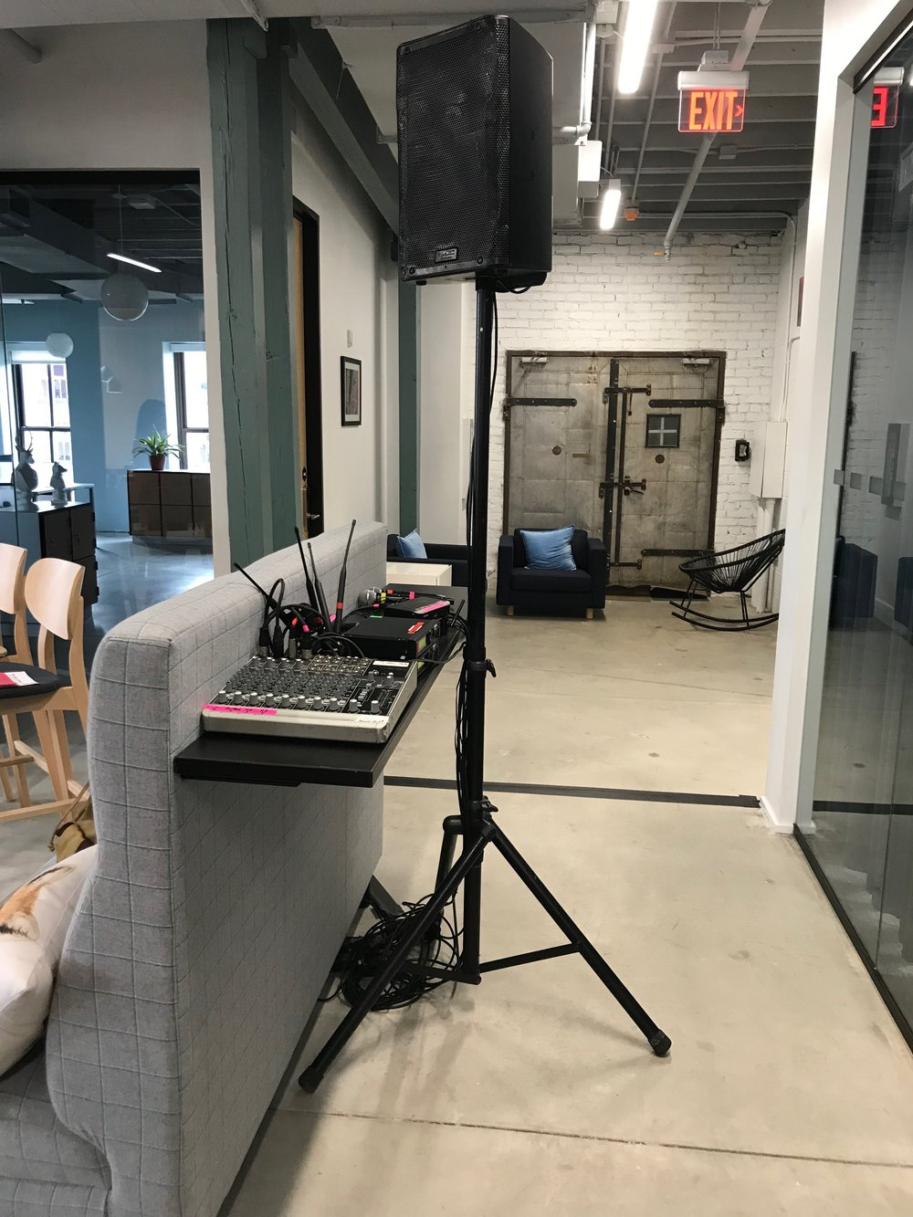 Picture of AV for You audio rental equipment at Spaces in Minneapolis