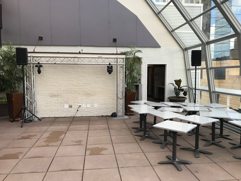 Picture of AV for You speaker and microphone rental at the Union Rooftop