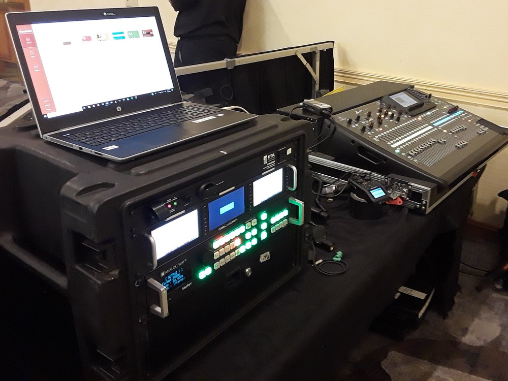 Picture of AV for You tech table at the Marriott in Bloomington, MN