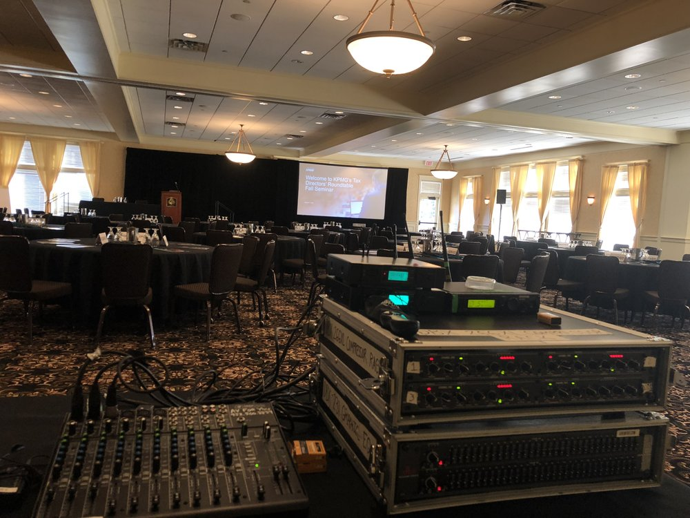 Picture of AV for You tech table at the Golden Valley Golf and Country Club