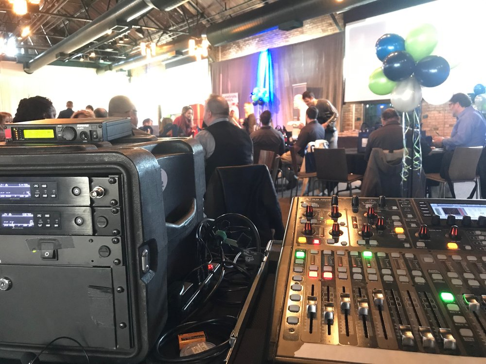 Picture of AV for You rental equipment at the Nicollet Island Pavilion in Minneapolis