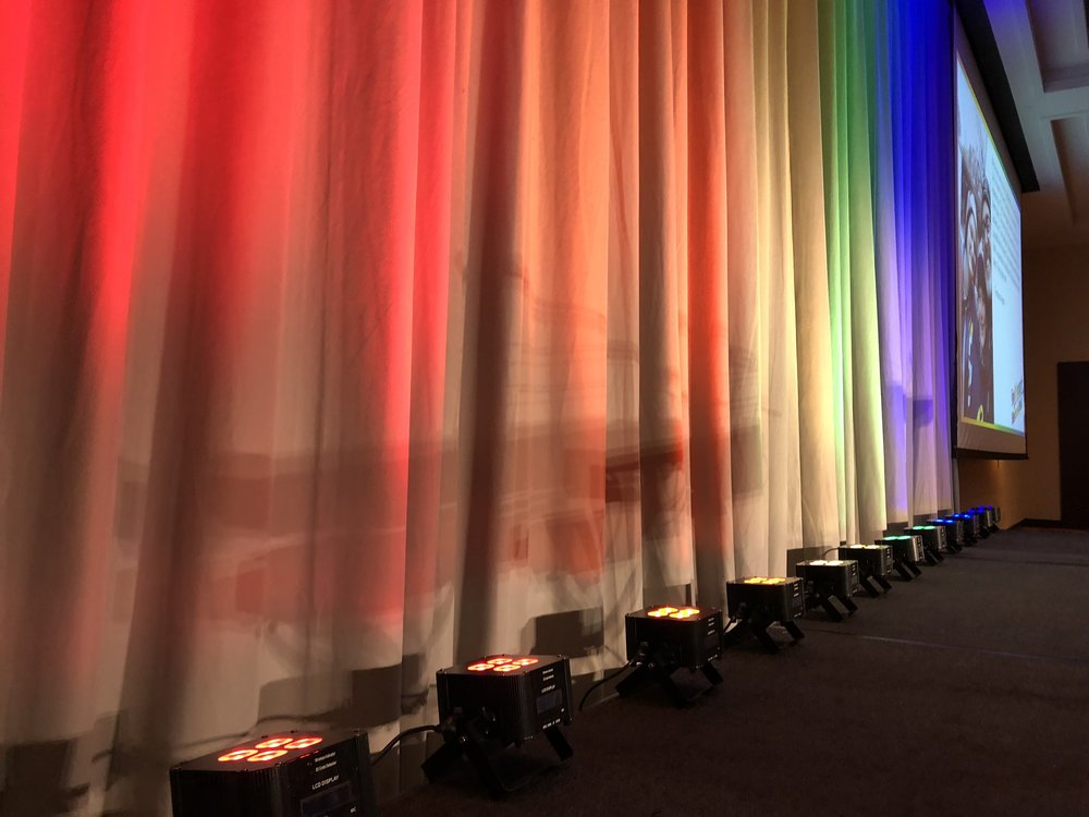 Picture of AV for You Battery Powered Uplights on Grey Drape available to rent