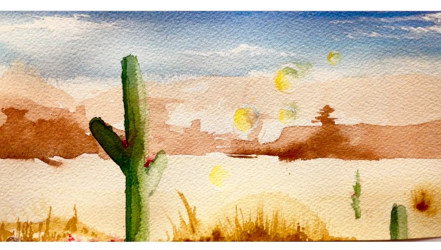 Desert Scene  - Watercolor Sketch Spring 2018