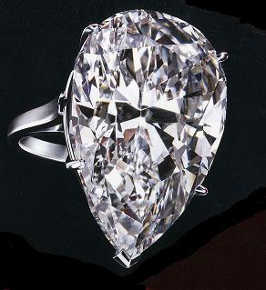 - 2.5 carat pear shaped simply set in platinum.