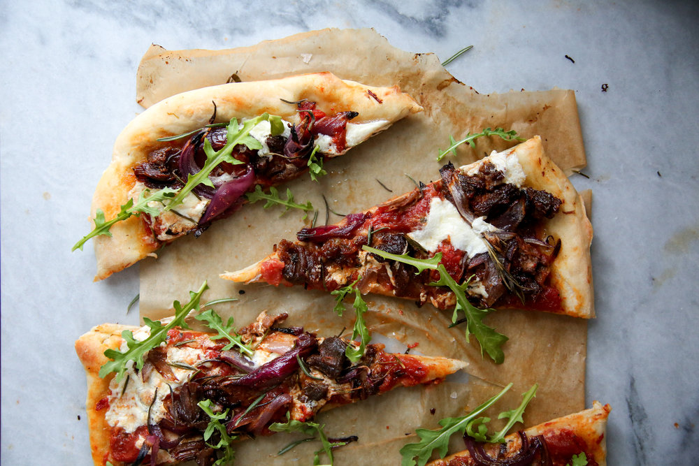 Braised Lamb Pizza with Burrata
