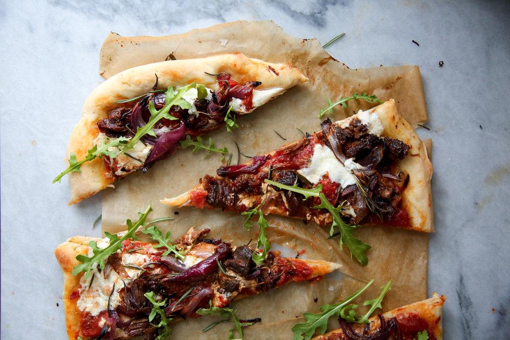 Braised Lamb Pizza with Burrata