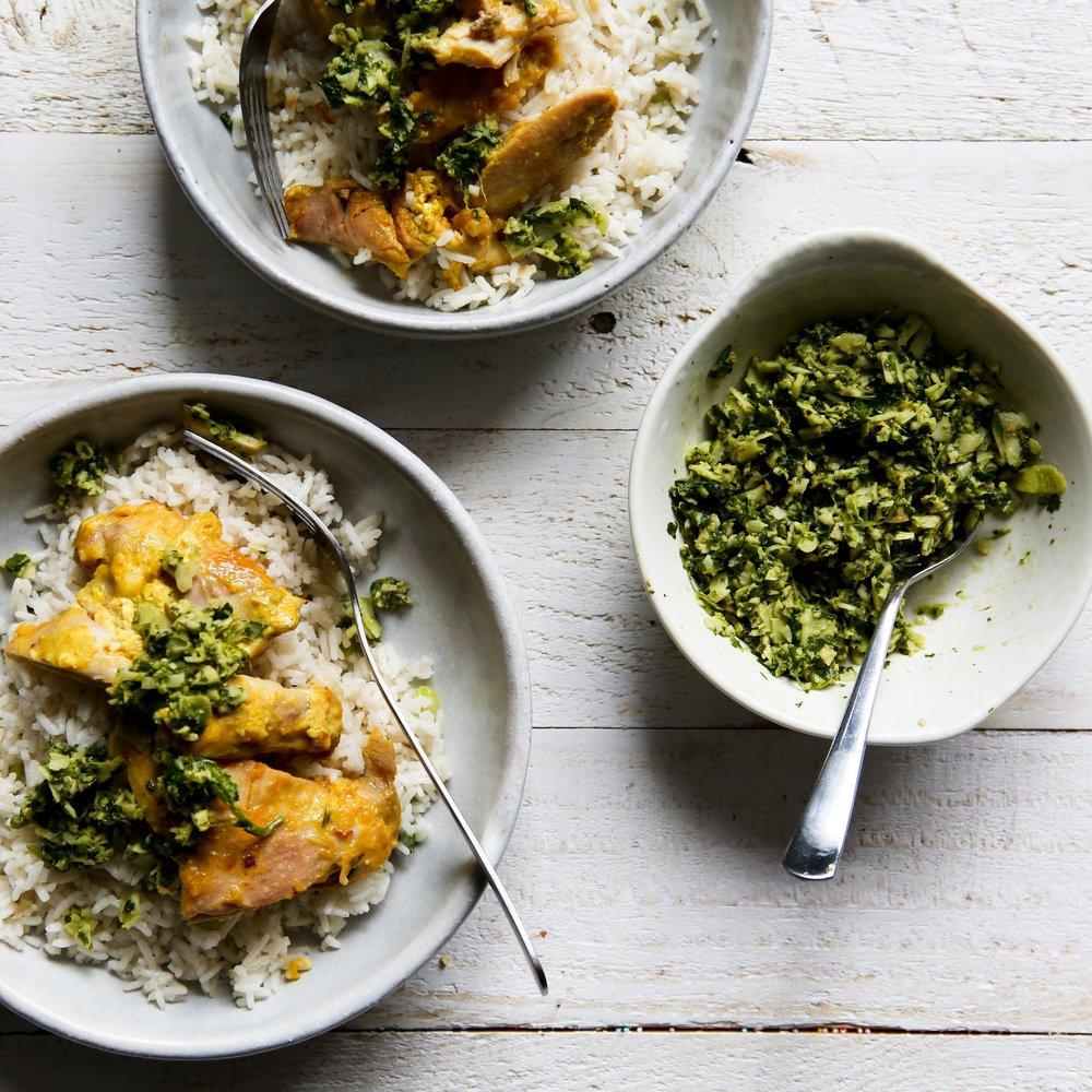 Yogurt Marinated Chicken with Coriander Pesto