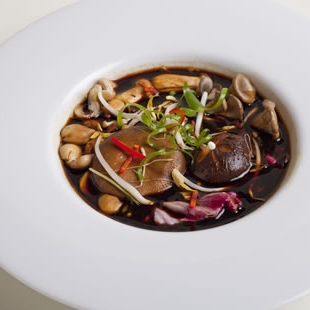 Master Stock Soup with Exotic Mushrooms and Red Witlof