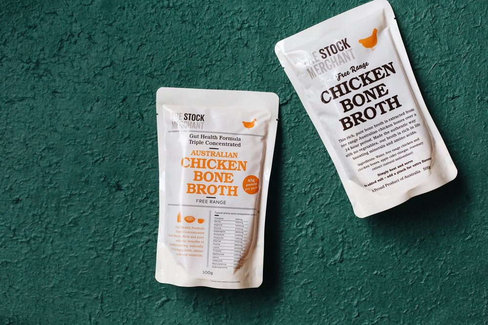 Chicken Bone Broth - A rich, pure bone broth extracted from free range Australian chicken bones over a 24 hour period. Made the authentic way with no vegetables, our broth is rich in life-boosting minerals and amino acids. Simply heat and serve, adding a pinch of salt for flavour. 19g of protein per 250g!