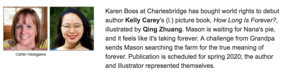 """I AM THRILLED to be illustrating my debut children's book, """"How Long is Forever?"""" written by Kelly Carey (Charlesbridge Spring 2020). It is my dream come true and I cannot wait to share it with you!"""