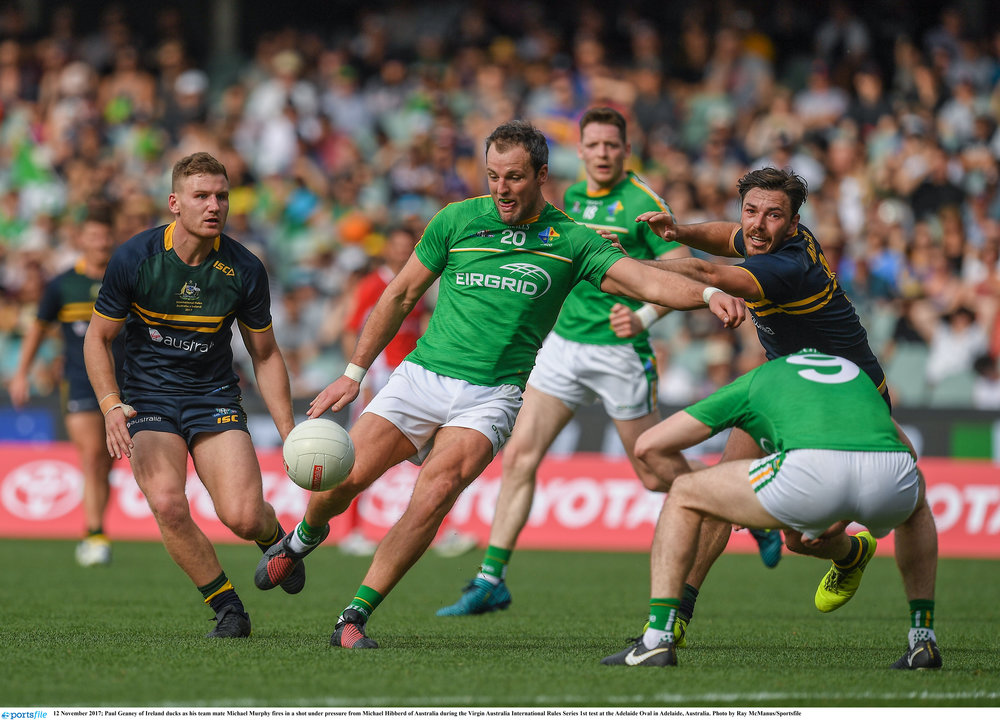 Michael Murphy goes for goal during the second International rules test in Perth.  Picture: Sportsfile