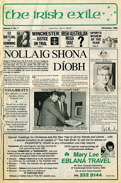 The very first edition of The Irish Exile in December 1988.