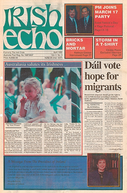 The first edition of the renamed Irish Echo in April 1992.