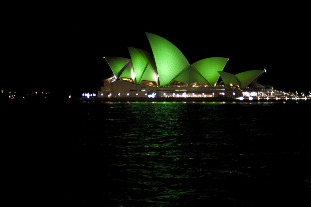 SELFIE STICKS AT THE READY.The Sydney Opera House will turn green again this St Patrick's Day thanks to the Sydney St Patrick's Day Association and Tourism Ireland. It's the first time since 2014 that Opera House has taken part in the Global Greening initiative. Other Australian sites turning green include Hyde Park Barracks and Sydney Town Hall; The Bell Tower, Council House and Elizabeth Quay in Perth, and the Queensland Performing Arts Centre in Brisbane.