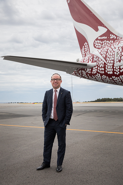 Qantas CEO, Dubliner Alan Joyce was on the first direct flight from Perth to London Heathrow last month.
