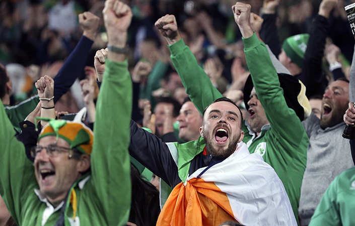 Irish fans celebrate at the Sydney Football Stadium. Picture: Rick Rycroft