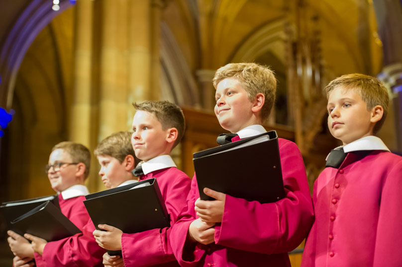 Members of the St Mary's Cathedral Choir. Oisín O'Sullivan is second from right. Picture: Catholic Weekly