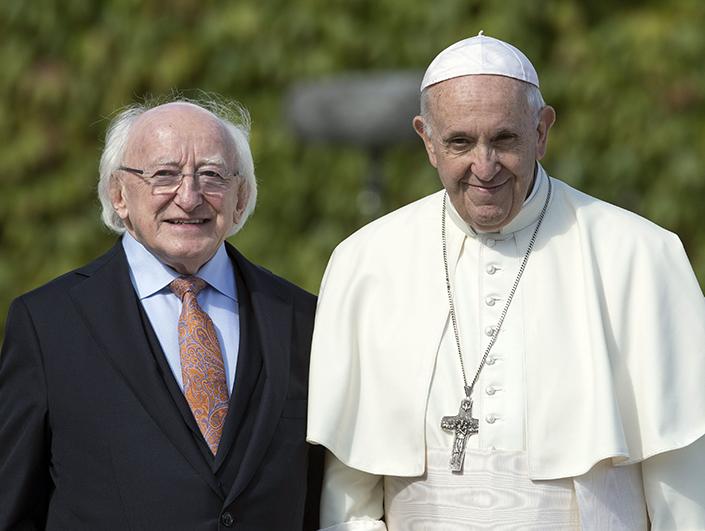 Pope Francis and President Michael D Higgins at Áras an Uachtaráin.
