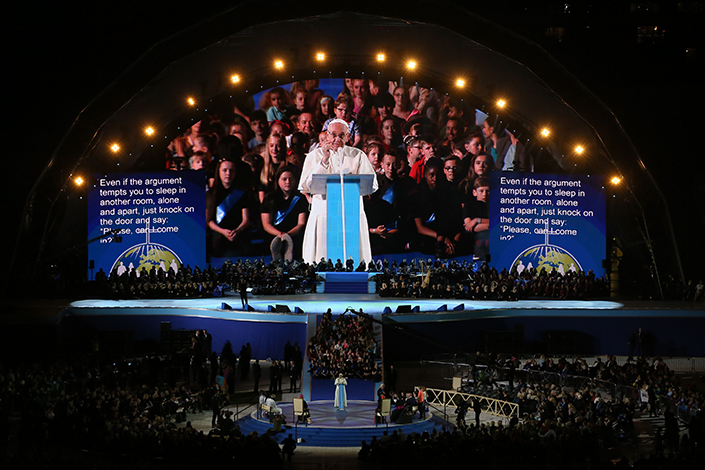 Pope Francis speaks to the audience at Croke Park Stadium in Dublin, during the Festival of Families. Picture: PA