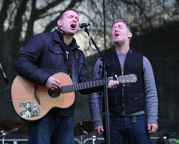 Damien Dempsey lends his support to many community causes. In 2014, he and Glen Hansard performed at a protest against water charges. Picture: Niall Carson