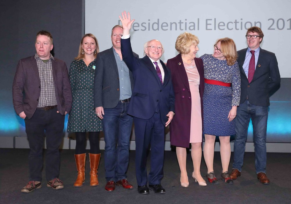 President Michael D Higgins and his family celebrate his re-election.