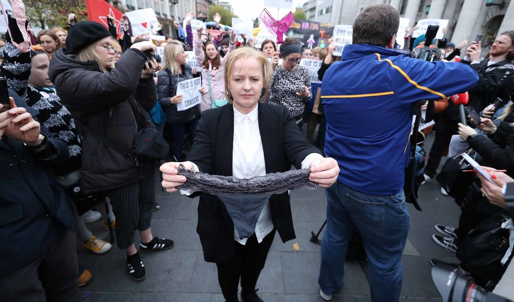 Ruth Coppinger TD outside the Dáil where she raised the issue of victim blaming in rape trials.