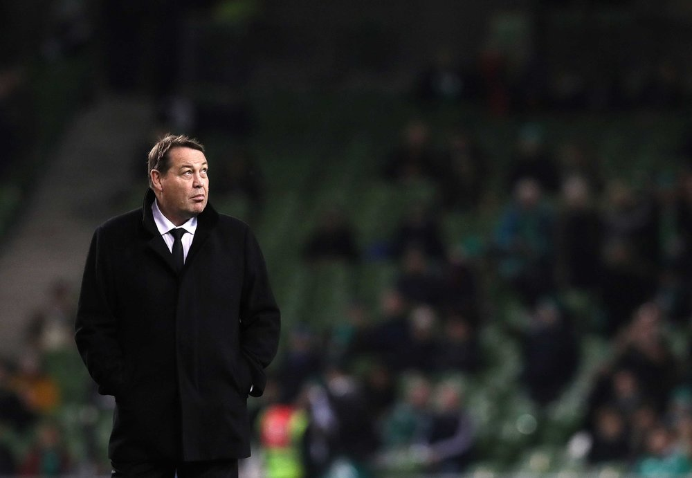 All Blacks coach Steve Hansen at the Aviva Stadium.