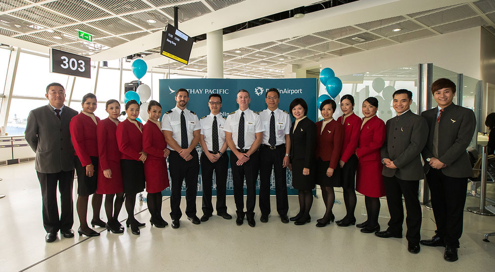 Cathay Pacific crew at Dublin Airport.