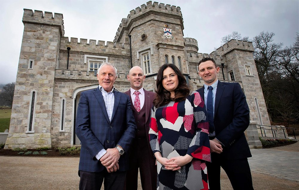 KING OF THE CASTLE: Killeavy Castle's owner Mick Boyle with key players in the renovation, Jason Foody, Clare Clarke and Gary Flynn.