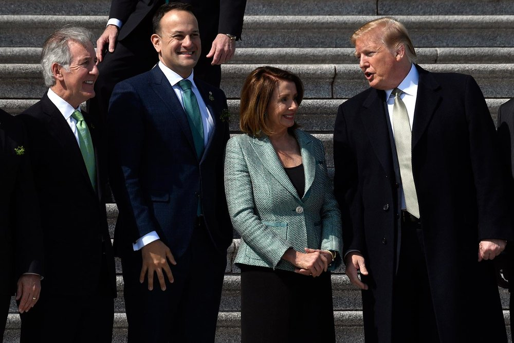 President Donald Trump, right, talks with, from left, Congressman Richard Neal, Leo Varadkar, and House Speaker Nancy Pelosi at Capitol Hill in Washington. Picture: Susan Walsh