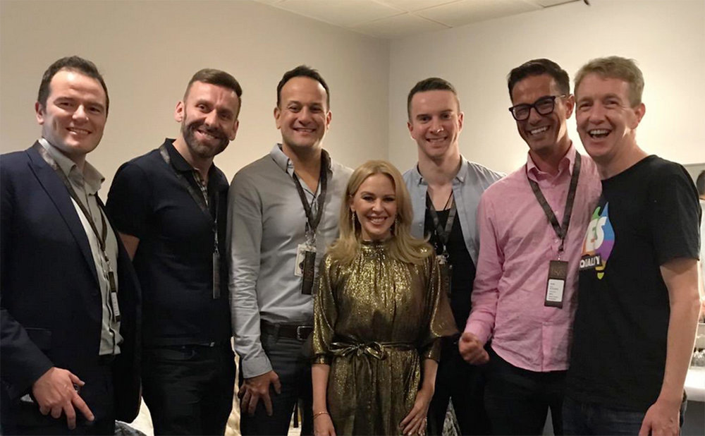 Toiseach Leo Varadkar and friends with Kylie Minogue in Dublin. Picture: Twitter/Tiernan Brady