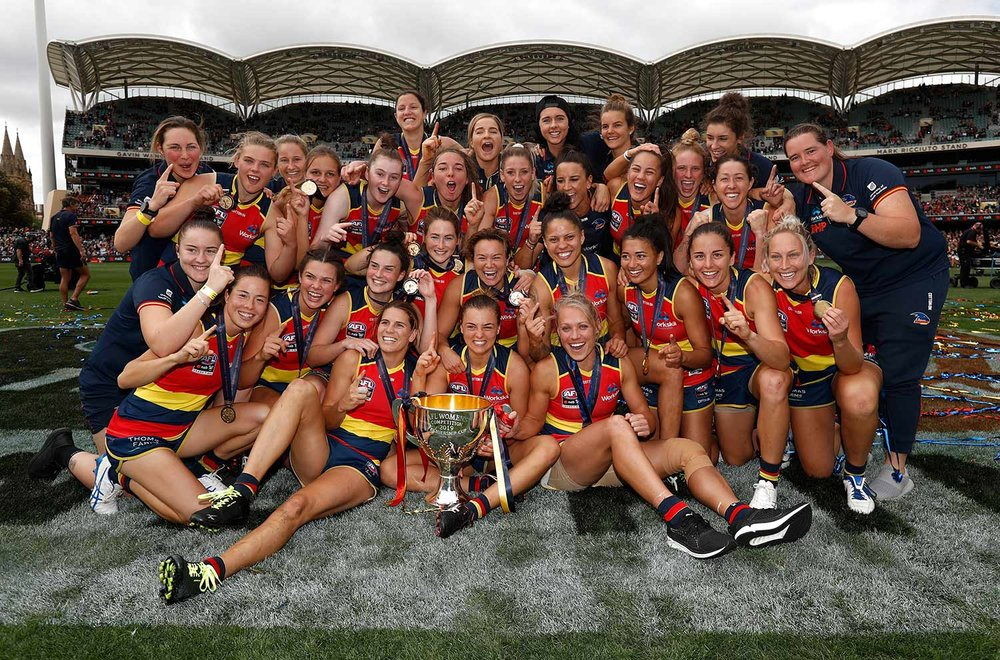 The triumphant Adelaide Crows team, 2019 AFLW Premiers. Picture: AFL