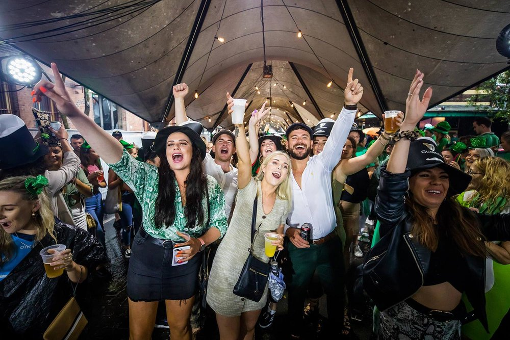 Revellers at The Mercantile Hotel in The Rocks on St Patrick's Day. Picture: PropertyNSW