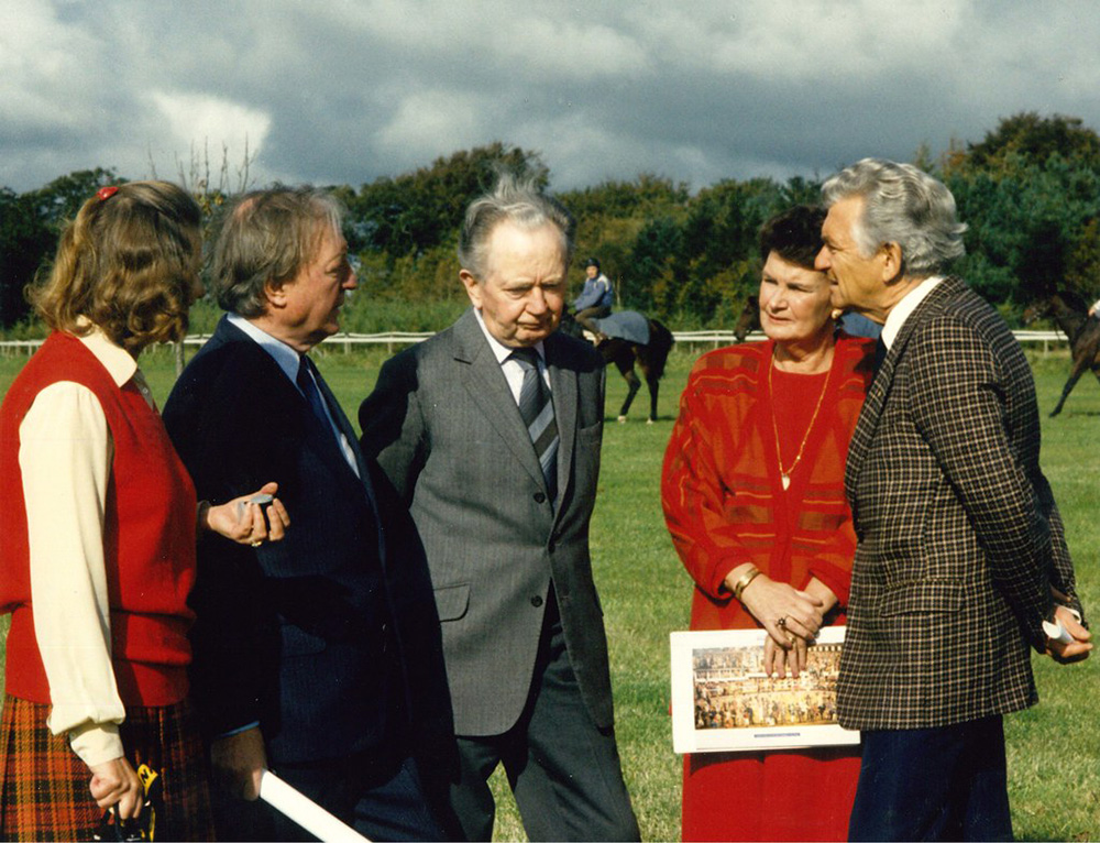 Bob Hawke (right) during his visit to Ireland in 1987. Also pictured is Jacqueline O'Brien, Taoiseach Charlie Haughey, horse trainer Vincent O'Brien and Maureen Haughey.