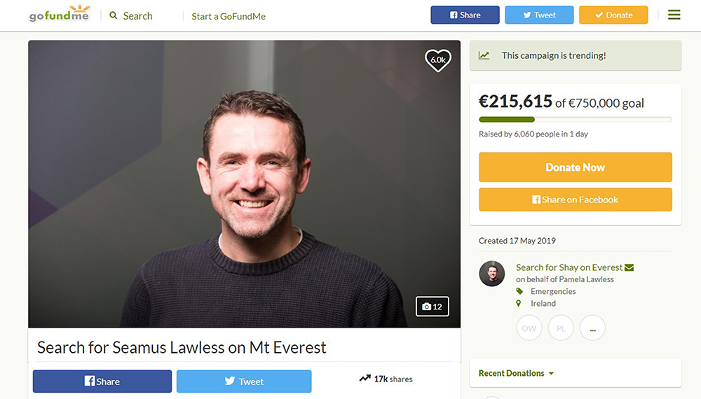 The GoFundMe page set up for missing climber Seamus Lawless.