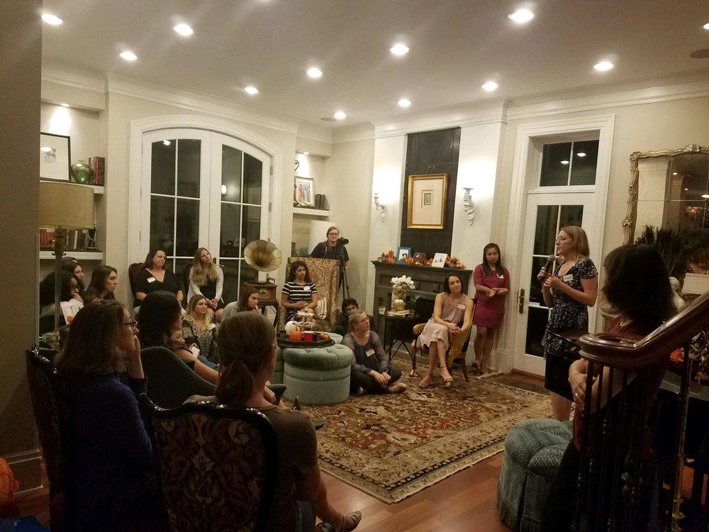 Maggie O'Keefe speaking at  Women In Tech  Salon. September 20, 2018