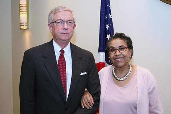 United States Magistrate Judge T. Rawles Jones, Jr., with his Judicial Assistant, Pat Jordan-Campbell.